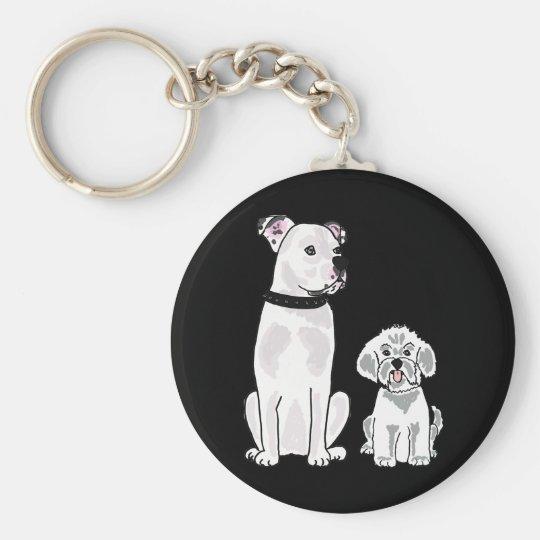 AM - Bishon Frise and American Bulldog Keychain