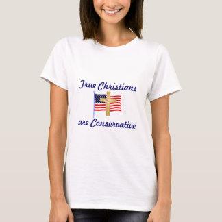 am flag, gold cross, True Christiansare Conserv... T-Shirt