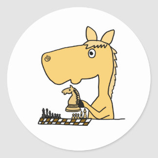 AM- Horse Playing Chess Cartoon Round Sticker