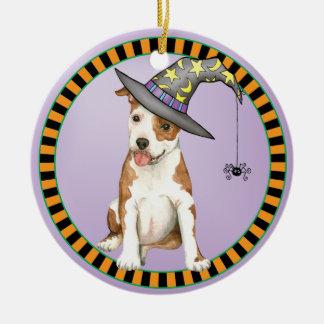 Am Staff Witch Round Ceramic Decoration