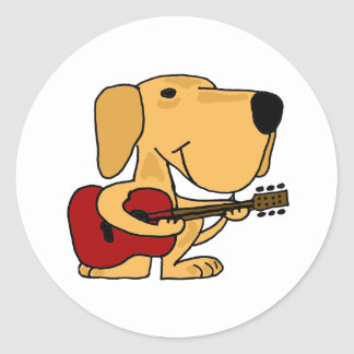 AM- Yellow Labrador Retriever Playing Guitar Classic Round Sticker