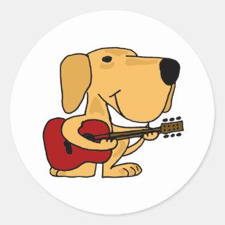 AM- Yellow Labrador Retriever Playing Guitar Round Sticker