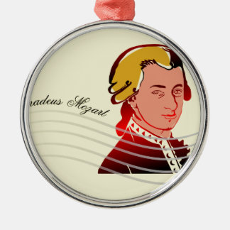 Amadeus Mozart Silver-Colored Round Decoration