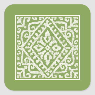 Amadora Green Pattern Square Sticker