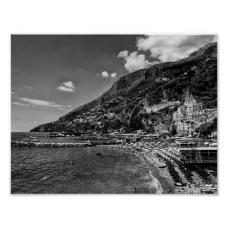 Amalfi Coast Black And Photography Poster