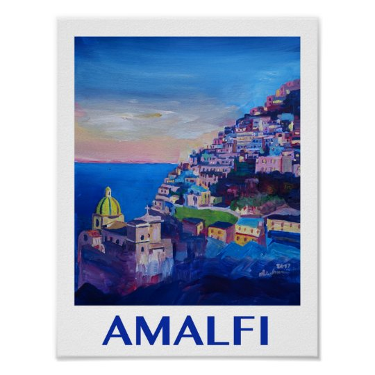 Amalfi coast Italy Retro Poster