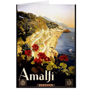 Amalfi Coastline Italian Travel Poster 1910 - 1920 Greeting Card