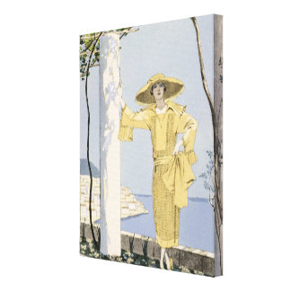 Amalfi, illustration of a woman in a yellow dress canvas print