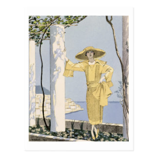 Amalfi, illustration of a woman in a yellow dress postcard
