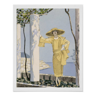 Amalfi, illustration of a woman in a yellow dress poster