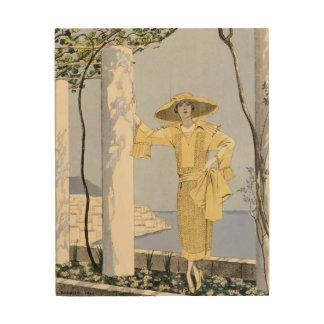 Amalfi, illustration of a woman in a yellow dress wood wall art