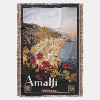 Amalfi Italia Coast Travel Poster Throw Blanket