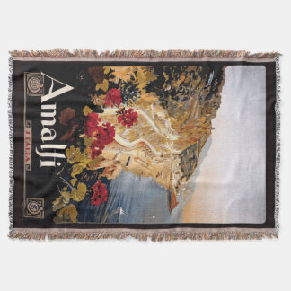 Amalfi Italia Coast Travel Poster Throw Blanket