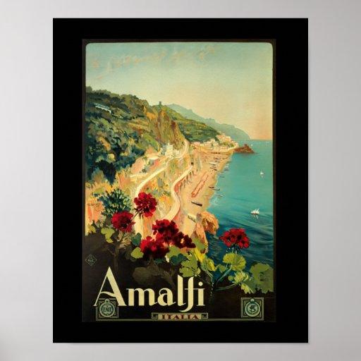 Amalfi Italia Vintage Italy Travel Poster