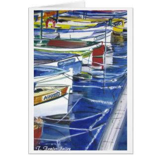 Amalfi Italy Boats Docked Card