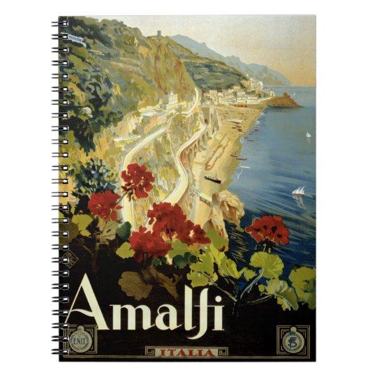 Amalfi Italy Italia Vintage Poster Restored Notebooks