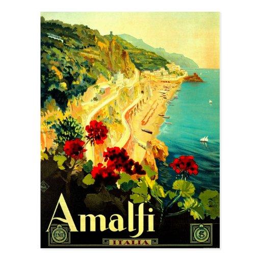 Amalfi Italy Italia VintageTravel Advertisement Postcards