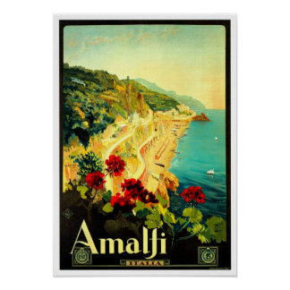 Amalfi Italy Italia VintageTravel Advertisement Poster