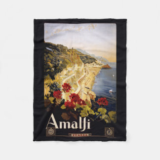 Amalfi Italy vintage travel fleece blanket