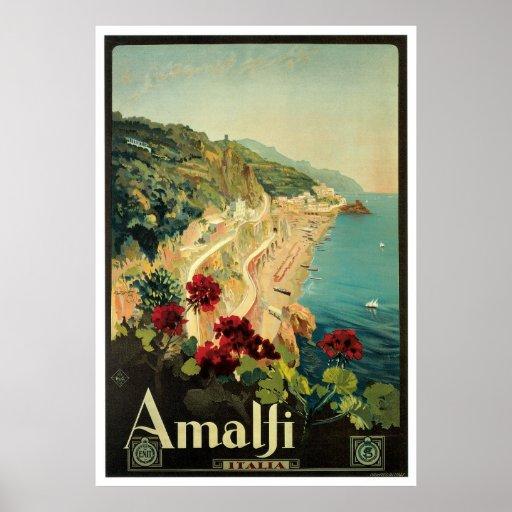 Amalfi, Italy vintage travel poster