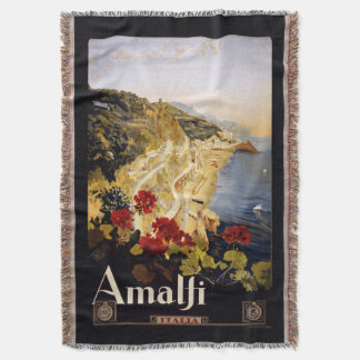 Amalfi Italy vintage travel throw blanket