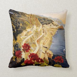 Amalfi Italy vintage travel throw pillow