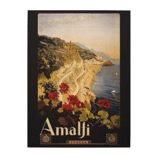 Amalfi Italy vintage travel wood canvas