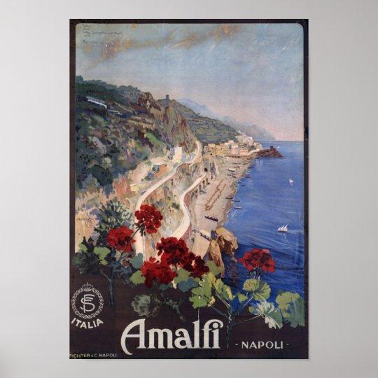 Amalfi Napoli Italy Vintage Italian Travel Poster