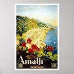 """Amalfi"" Vintage Travel Poster"