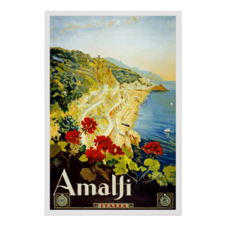 Amalfi Vintage Travel Poster