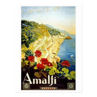 Amalfi Vintage Travel Poster Postcard