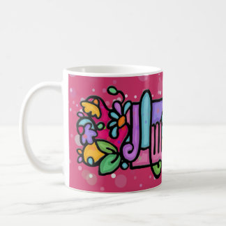 AMANDA Custom painted coffee cup.Pk. Dots Coffee Mug