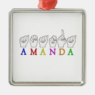 AMANDA  FINGERSPELLED ASL SIGN NAME FE MALE CHRISTMAS ORNAMENT