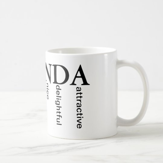 Amanda Mug w/ words for each letter in