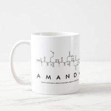 Mug featuring the name Amanda spelled out in the single letter amino acid code