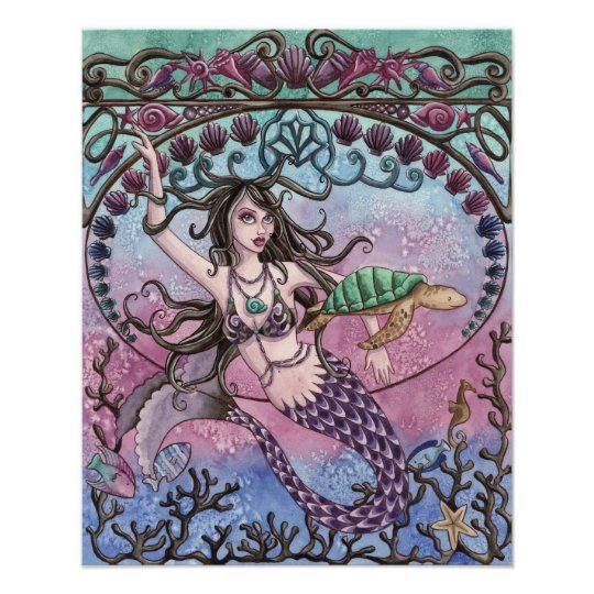 Amara - Art Nouveau Mermaid Poster