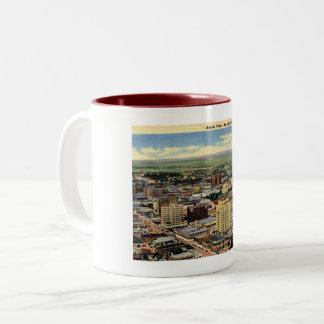 Amarillo, Texas, Aerial View, 1950 Vintage Two-Tone Coffee Mug