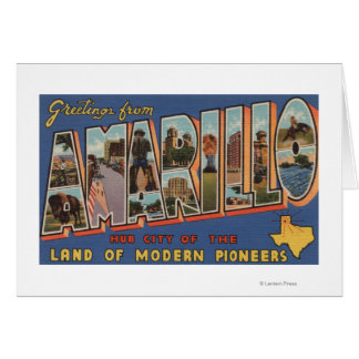 Amarillo, Texas - Large Letter Scenes Greeting Card