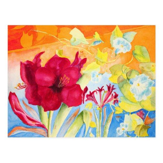 Amaryllis Morning Glories Postcard