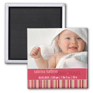 Amaryllis Stripes • Baby Announcement Square Magnet