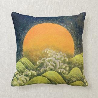 AMATERASU SUN GODDESS red,yellow green brown black Throw Pillow