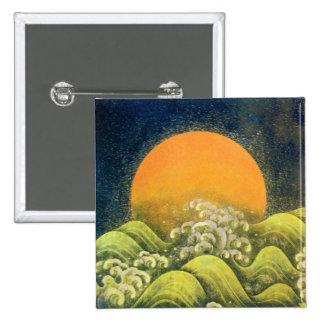 AMATERASU , SUN GODDESS , yellow green black 15 Cm Square Badge