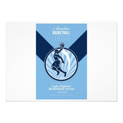 Amateur Basketball League Retro Poster Personalised Invitation