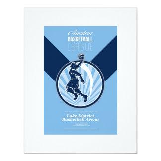 Amateur Basketball League Retro Poster Personalised Invitations