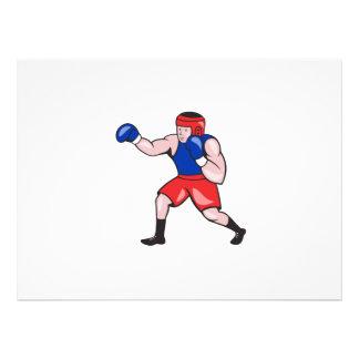 Amateur Boxer Boxing Cartoon Custom Invitations