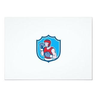 Amateur Boxer Stance Shield Cartoon 13 Cm X 18 Cm Invitation Card