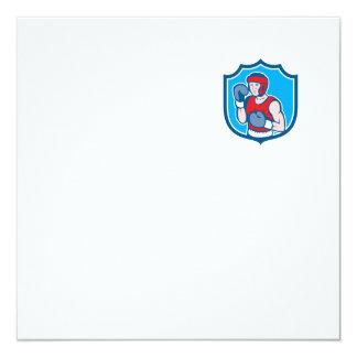 Amateur Boxer Stance Shield Cartoon Custom Invites