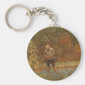 Amateur (Coachman & Cabbages) by Frederick Walker Basic Round Button Key Ring