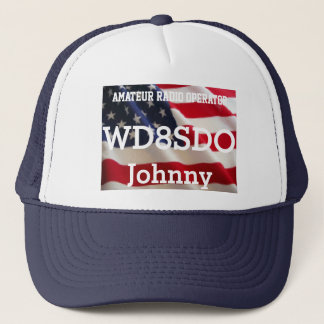 Amateur Radio Ball Cap with American Flag