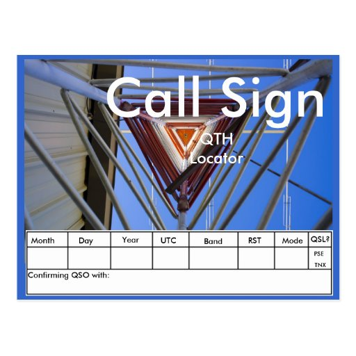 Amateur Radio Tower QSL Post Card